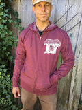 Men's Zip Hoodie Amanita Mushroom Berry Red Organic Cotton Original Art Screen Printed