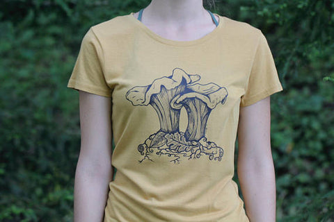 Women's Tee Shirt Chanterelle Mushroom Nature Screen Print Mustard Yellow Organic Cotton