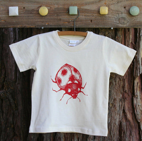 Toddler Tee Shirt Ladybug Screen Printed White Organic Cotton