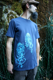 Tee Shirt Men's Jellyfish Nature Screen Print Navy Blue Organic Cotton, nautical, music, gift for him
