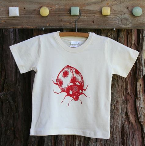 Tee Shirt Toddler Ladybug Pollinator Bug Nature Screen Print Natural Organic Cotton,  kids, child, nature