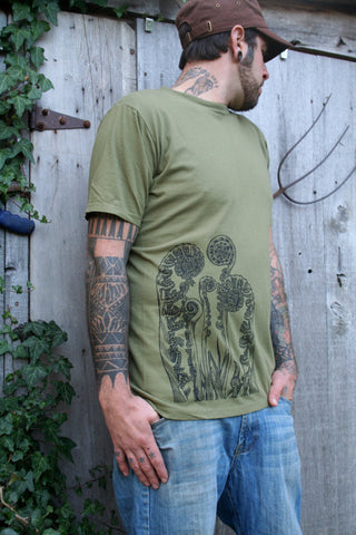 Fiddlehead Ferns Organic Cotton Men's Olive Screen-printed T-shirt