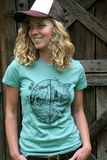 Tee Shirt Women's Buy Local Buy Organic No GMO No Monoculture Screen Print Blue Sage Organic Cotton, gift for her, local food