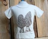 Tee Shirt Children's Morel Mushroom Nature Screen Print Natural Organic Cotton, nature, morel, mycology, kids