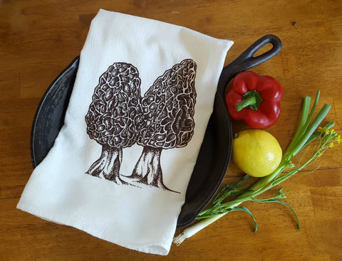 Morel Mushrooms Cotton Tea Towel Screen Printed White