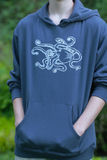 Pocket Hoodie Pullover Sweatshirt Octopus Print Mens Navy Blue Organic Cotton Screen Printed, guy, gift for him, blue, ocean, marine