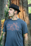 Best Men's Charcoal Blue Organic Cotton  Copper Octopus T shirt