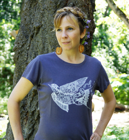 Tee Shirt Women's Swallow Steampunk Gears Bird Screen Print Purple Bamboo Organic Cotton