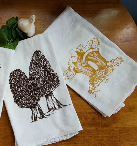Tea Towel Set Choose Two Morel Chanterelle Reishi Shaggy Mane Mushroom Nature Screen Print Cotton, kitchen, mycology, nature