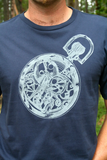 Tee Shirt Men's Pocket Watch Clockwork Gears Screen Print Navy Organic Cotton, hipster, steampunk