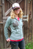 Women's Zip Up Hoodie Morel Mushroom Screen Printed Green Organic Cotton Recycled