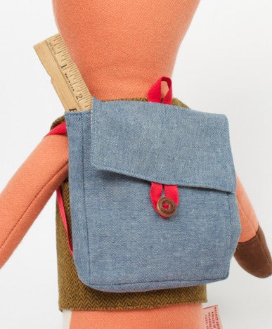 Walnut Animal Society chambray rucksack with Henry the Fox