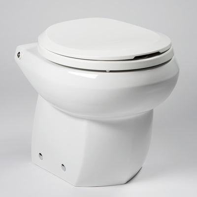 White Royal Flush Espresso Marine Toilet with Multitouch Control System