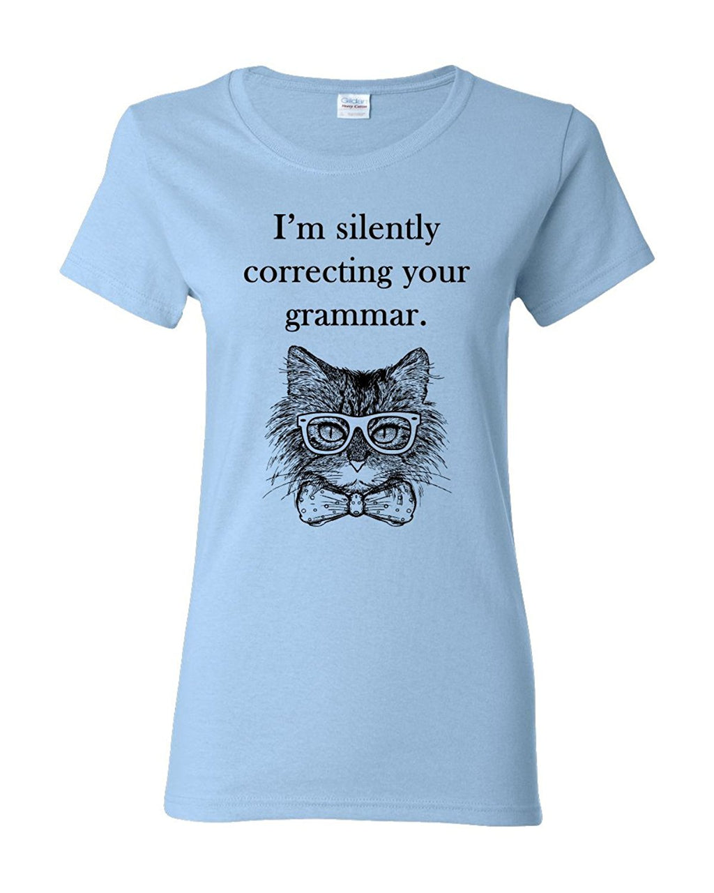 I m Silently Correcting Your Grammar Women s Adult Tee Funny Cat