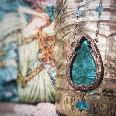 Undine of the Sea ~ Stained Glass Gothic Arch Amulet