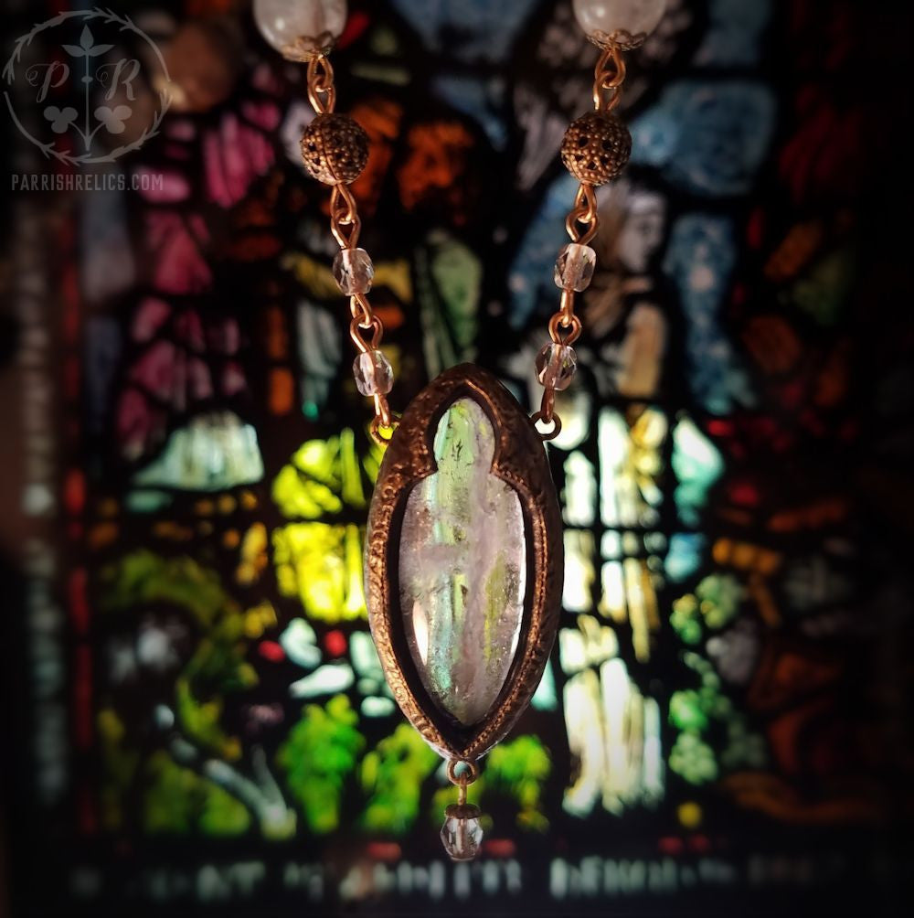 Let There Be Light ~ Quartz Crystal & Glass Gothic Arch Amulet