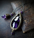 Temperance & Harmony ~ Amethyst Quartz Crystal & Stained Glass Gothic Arch ~ Duet Pendants