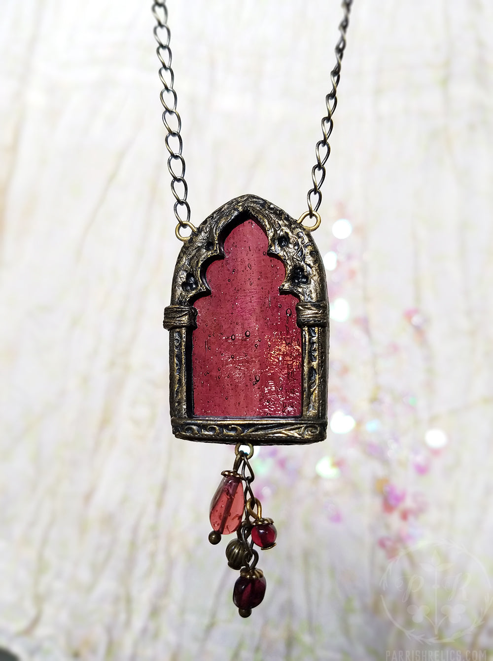 Arch of Persephone ~ Garnet Stained Glass Amulet