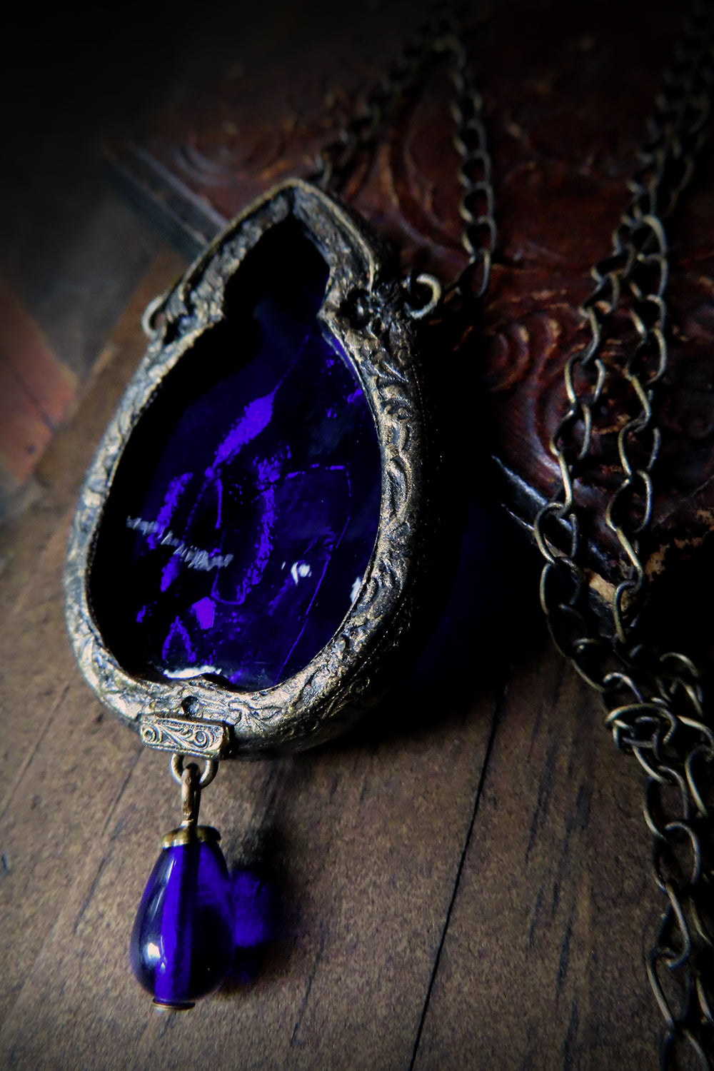 Arch of Una ~ Cobalt Stained Glass Gothic Arch Amulet