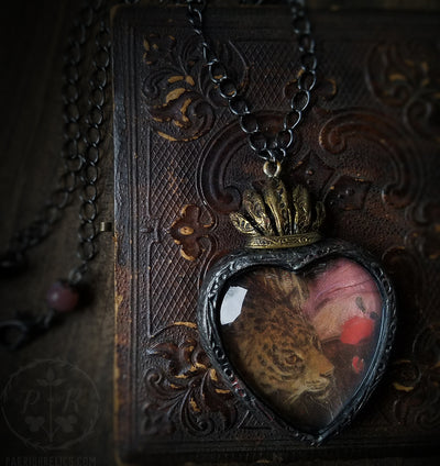 Ariadne's Leopard ~ Sacred Heart Pictorial Shrine Amulet