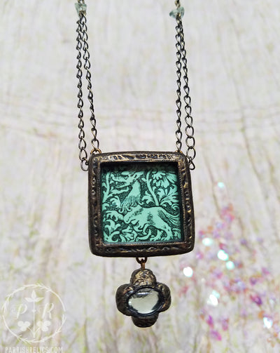 Two-Faced Beastie ~ Medieval Woodcut Pictorial Shrine Amulet ~ Fluorite Crosslet