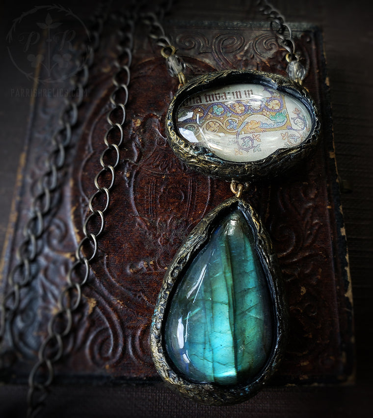Illuminated Beastie (Luttrell Psalter) Pictorial Shrine & Labradorite Amulet