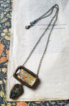 Illuminated Manuscript Beastie ~ Labradorite Pictorial Shrine Amulet