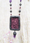 Woodblock Beasties ~ Amethyst Quartz Pictorial Shrine Amulet