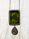 Medieval Beasties Woodcut & Labradorite Pictorial Shrine Amulet
