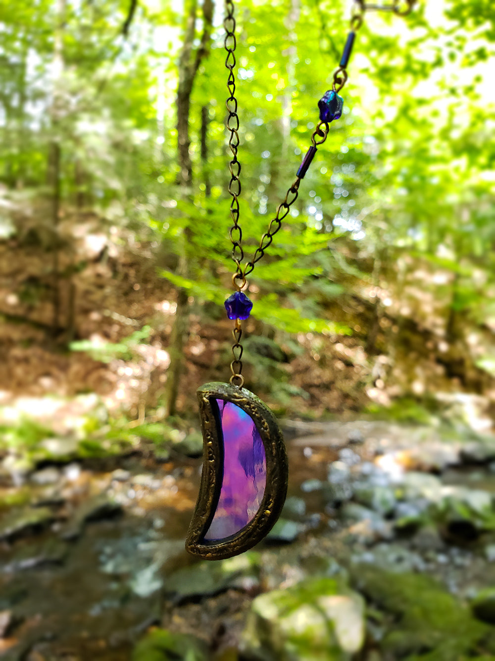 caelestis ignis ~ Iridescent Stained Glass Amulet