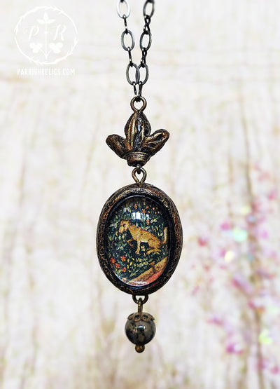 Crowned Tapestry Fox Pictorial Shrine Amulet