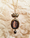 Crowned Tapestry Rabbit Amulet Necklace