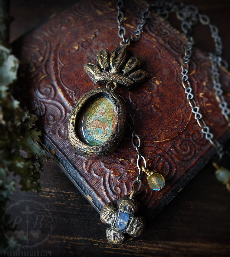 Crowned Stag Amulet with Labradorite Clover Cross