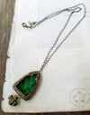 Vesta's Arch ~ Emerald Stained Glass Amulet