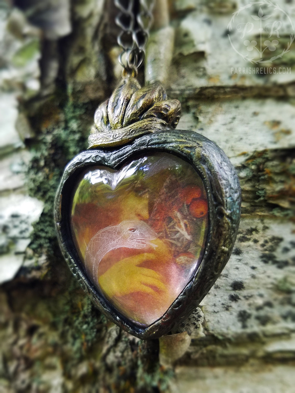 Eve & the Snake ~ Etched Glass Sacred Heart Amulet