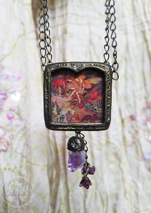 Amethyst Quartz ~ Iridescent Stained Glass Fairy Woodland Pictorial Shrine Amulet