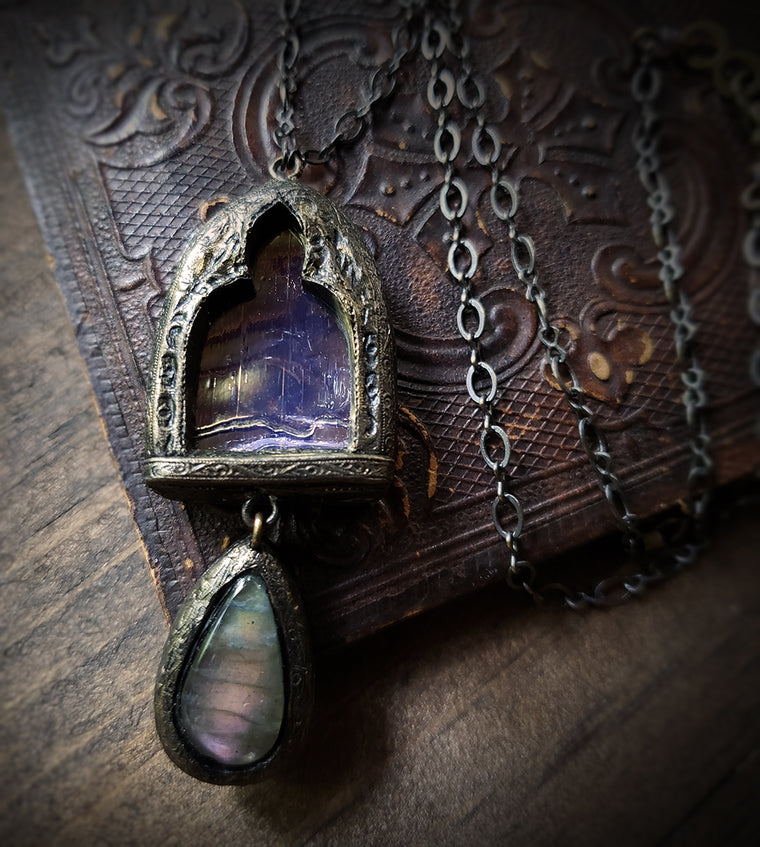 Fairest Tanaquill ~ Labradorite Stained Glass Amulet