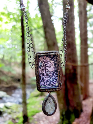 Medieval Woodcut Musical Boar Beastie Pictorial Shrine Amulet with Labradorite