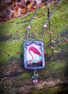 Iridescent Stained Glass Flamingo Pictorial Shrine Amulet