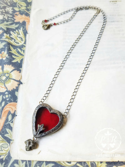 Fleur Heart ~ Stained Glass Amulet