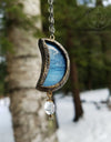 Galatea's Crescent Moon Stained Glass Amulet