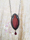 Serafina ~ Garnet Gothic Arch Stained Glass Amulet