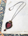 Garnet Sacred Heart ~ Stained Glass Amulet
