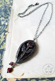 Garnet Rose ~ Floriated Ornament Stained Glass Amulet