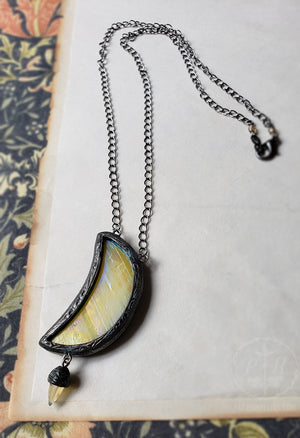 Golden Iridescent Luna Agate Stained Glass Amulet