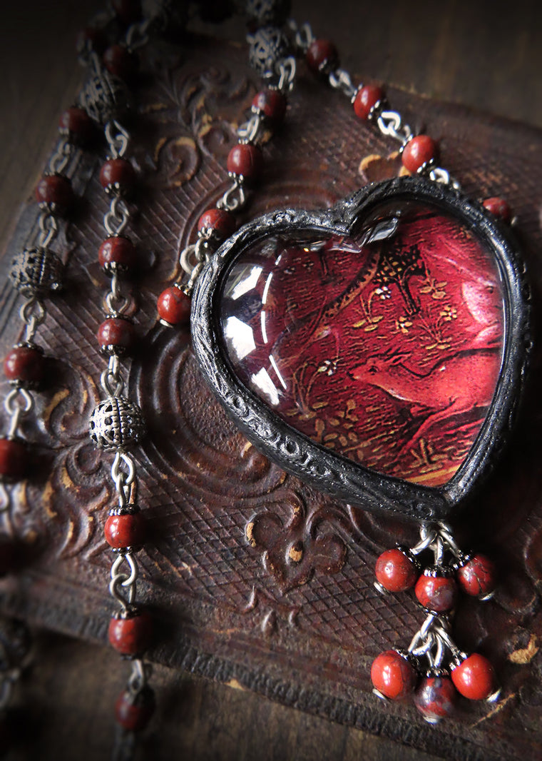 Illuminated Birds & Beasts Sacred Heart Pictorial Shrine Amulet