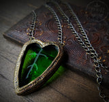 Heart of Nature ~ Etched Stained Glass Amulet