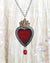HOPE ~ Birch Bark & Stained Glass Sacred Heart Amulet