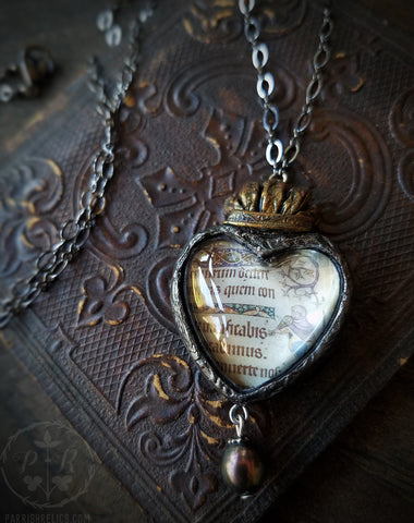 Illuminated Manuscript ~ Sacred Heart Pictorial Shrine Amulet
