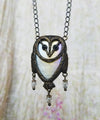 tyto alba ~ Opalescent Stained Glass Barn Owl Amulet